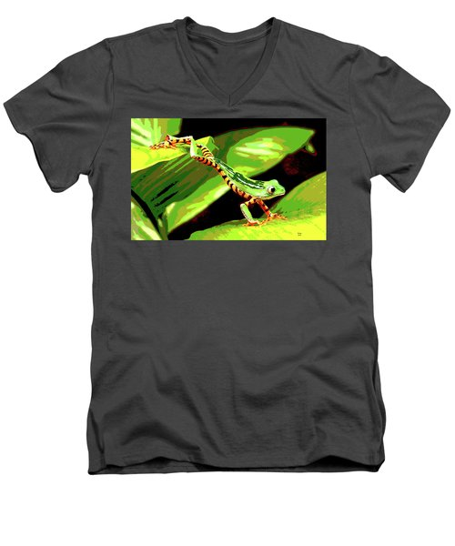 Men's V-Neck T-Shirt featuring the mixed media Jumping Frog by Charles Shoup