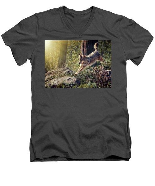 Jumping Rocks Men's V-Neck T-Shirt by Elaine Malott