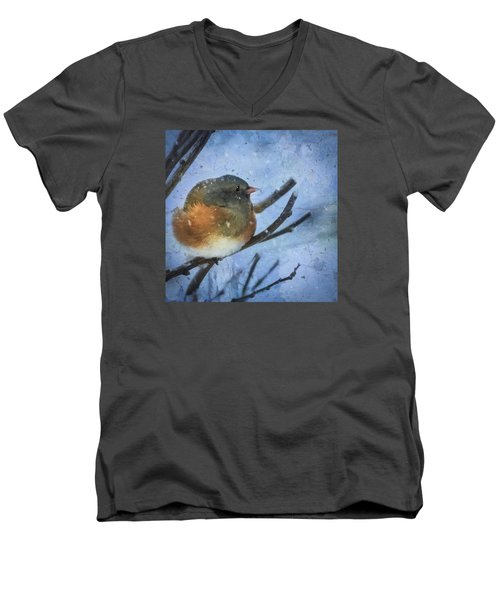 Junco On Winter Day Men's V-Neck T-Shirt by Christina Lihani