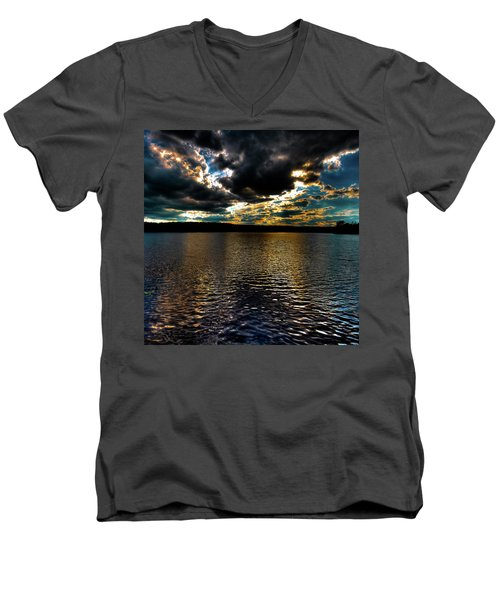Men's V-Neck T-Shirt featuring the photograph June Sunset On Nicks Lake by David Patterson