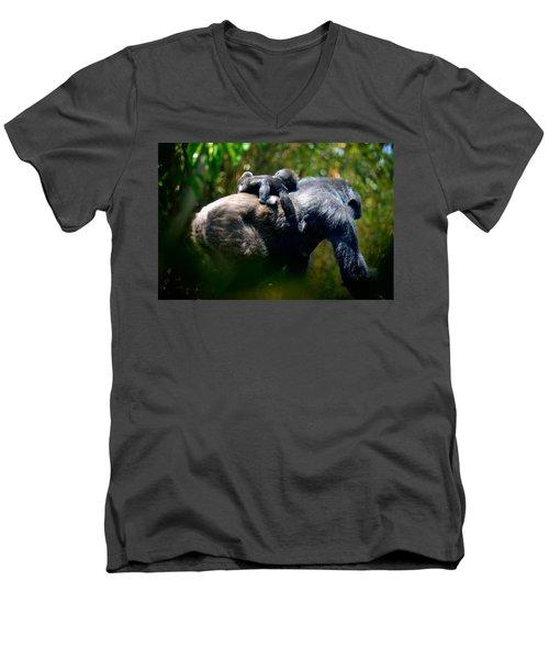 Jungle Baby Hitch Hiker Men's V-Neck T-Shirt by Lori Seaman