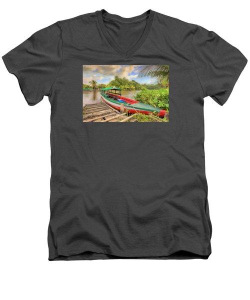 Jungle Boat Men's V-Neck T-Shirt by Nadia Sanowar