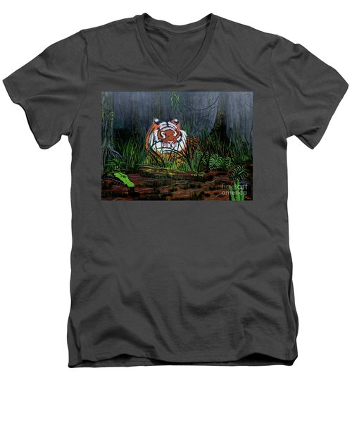 Men's V-Neck T-Shirt featuring the painting Jungle Cat by Myrna Walsh