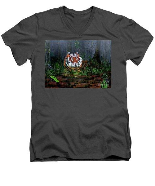Jungle Cat Men's V-Neck T-Shirt by Myrna Walsh