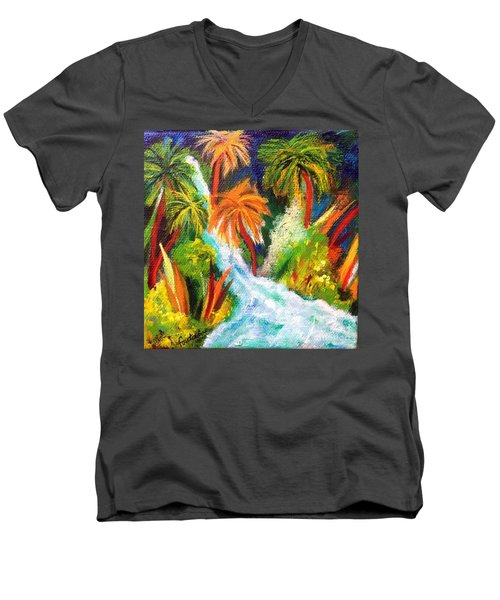 Jungle Falls Men's V-Neck T-Shirt by Elizabeth Fontaine-Barr