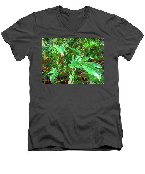 Jungle Greenery Men's V-Neck T-Shirt by Ginny Schmidt