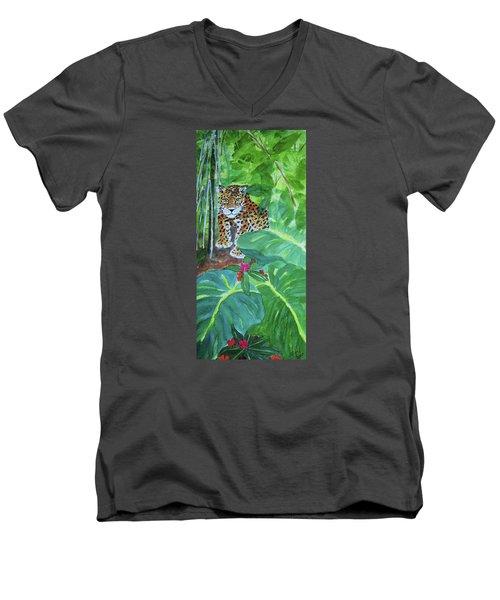 Men's V-Neck T-Shirt featuring the painting Jungle Jaguar by Ellen Levinson
