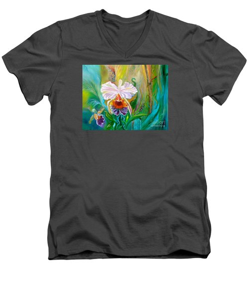 Jungle Orchid Men's V-Neck T-Shirt by Jenny Lee