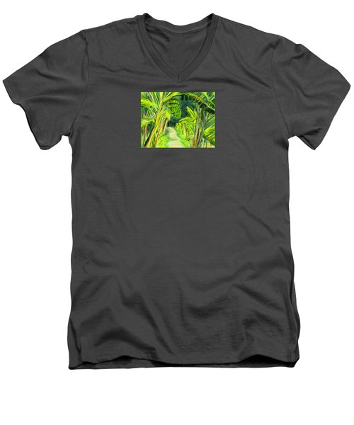 Men's V-Neck T-Shirt featuring the digital art Jungle Path by Jean Pacheco Ravinski