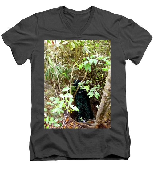 Men's V-Neck T-Shirt featuring the photograph Jungle Stream by Francesca Mackenney