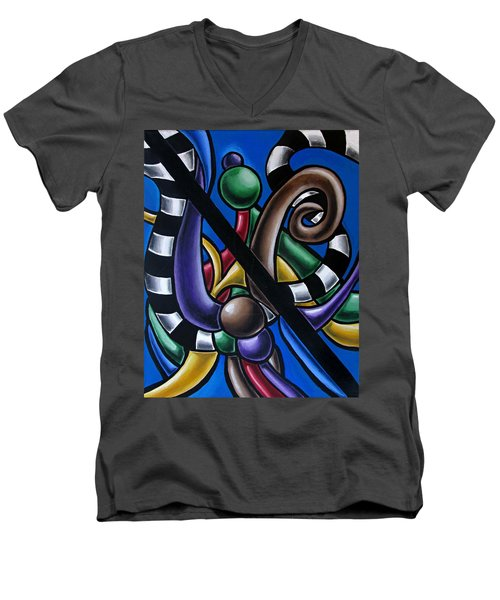 Original Colorful Abstract Art Painting - Multicolored Chromatic Artwork Men's V-Neck T-Shirt