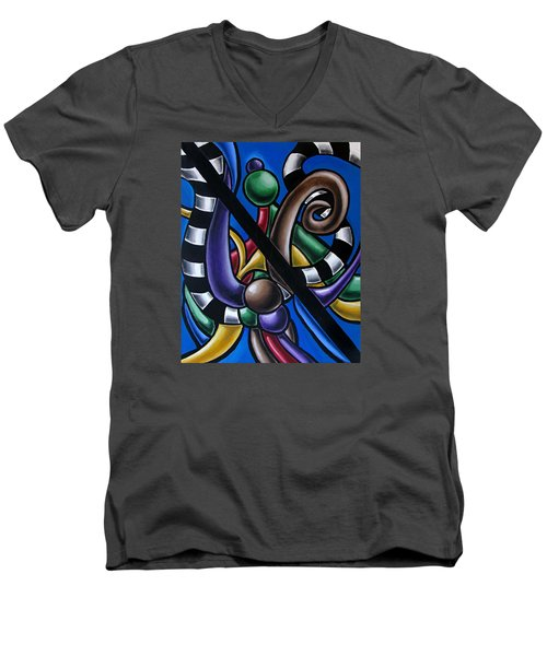 Colorful 3d Abstract Art Painting - Multicolored Original Artwork - Black And White Stripes Men's V-Neck T-Shirt