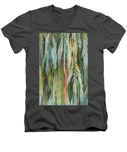 Men's V-Neck T-Shirt featuring the photograph Juniper Leaves - Shades Of Green by Ben and Raisa Gertsberg
