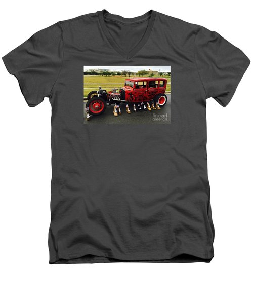 Men's V-Neck T-Shirt featuring the photograph Junk Yard Dawg - No.2015 by Joe Finney