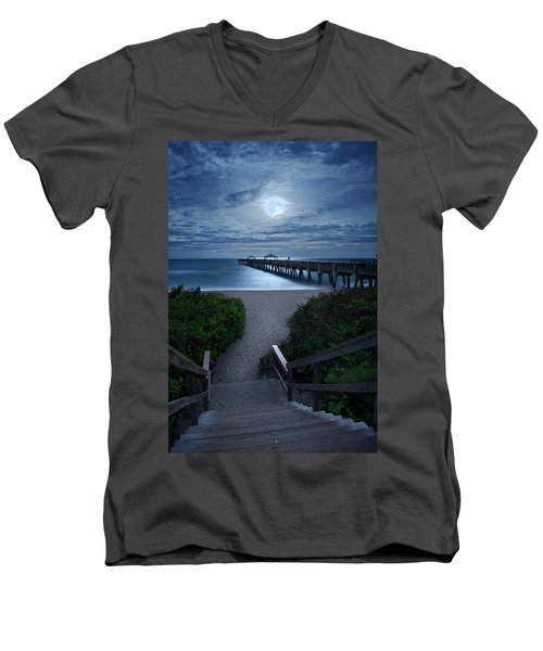 Juno Pier Stairs To Beach Under Full Moon Men's V-Neck T-Shirt