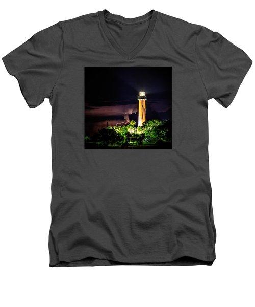 Jupiter Lighthouse Lightning Men's V-Neck T-Shirt