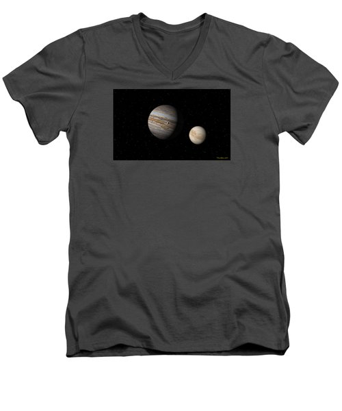 Men's V-Neck T-Shirt featuring the digital art Jupiter With Io And Europa by David Robinson