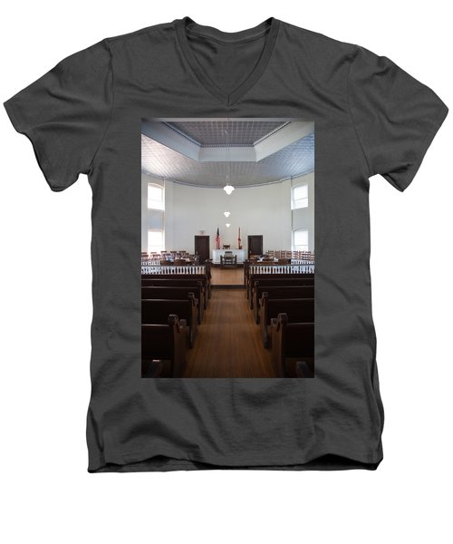 Jury Box In A Courthouse, Old Men's V-Neck T-Shirt
