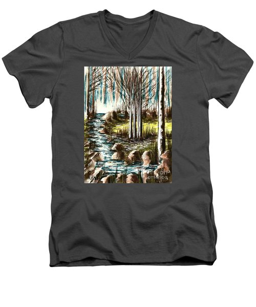 Just Around The Riverbend  Men's V-Neck T-Shirt