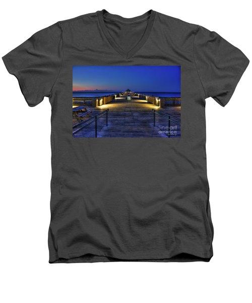 Men's V-Neck T-Shirt featuring the photograph Just Before Dawn Folly Beach Pier Charleston Sc Sunrise Art by Reid Callaway