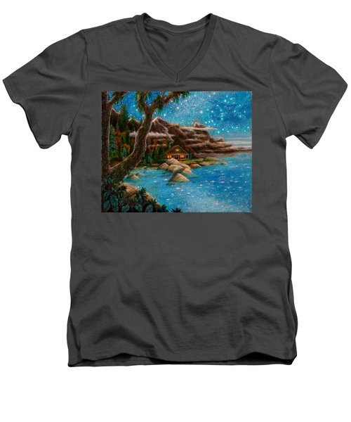 Men's V-Neck T-Shirt featuring the painting Just Before Dawn by Matt Konar