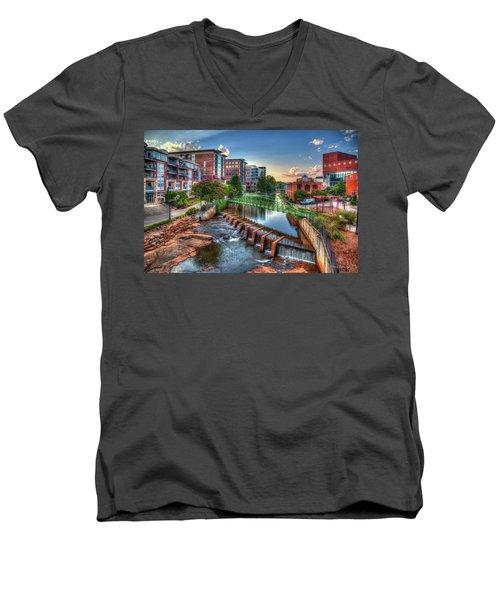 Just Before Sunset 2 Reedy River Falls Park Greenville South Carolina Art Men's V-Neck T-Shirt