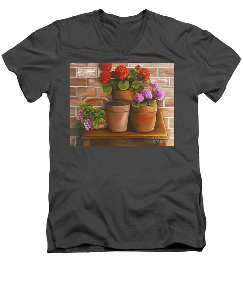 Men's V-Neck T-Shirt featuring the painting Just Geraniums by Marlene Book