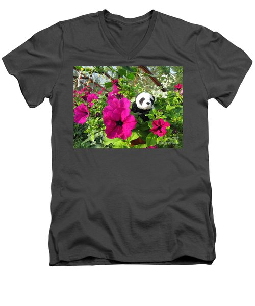 Men's V-Neck T-Shirt featuring the photograph Just Hanging In There by Ausra Huntington nee Paulauskaite