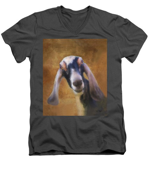 Men's V-Neck T-Shirt featuring the mixed media Just Kidding Around by Colleen Taylor