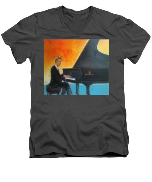 Justin Levitt At Piano Red Blue Yellow Men's V-Neck T-Shirt