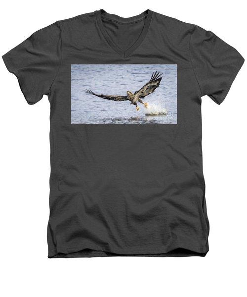 Juvenile Bald Eagle Fishing Men's V-Neck T-Shirt by Ricky L Jones