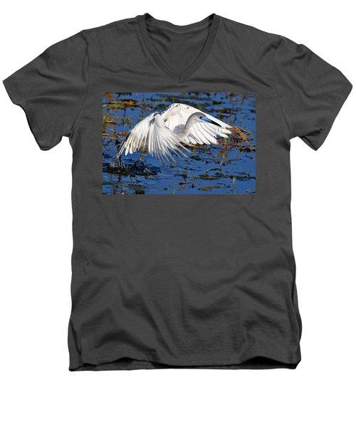 Juvenile Little Blue Heron Men's V-Neck T-Shirt