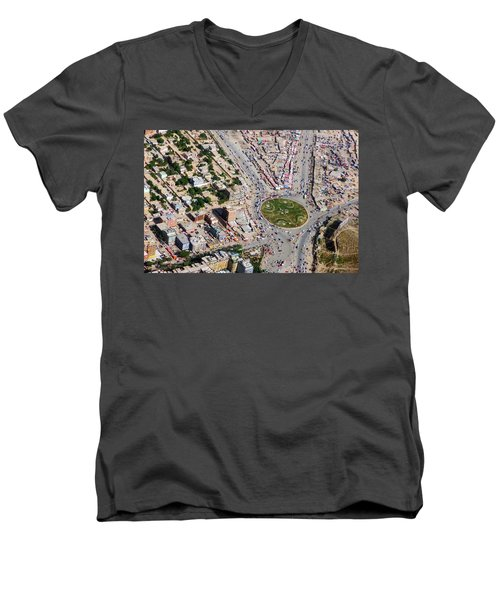 Kabul Traffic Circle Aerial Photo Men's V-Neck T-Shirt