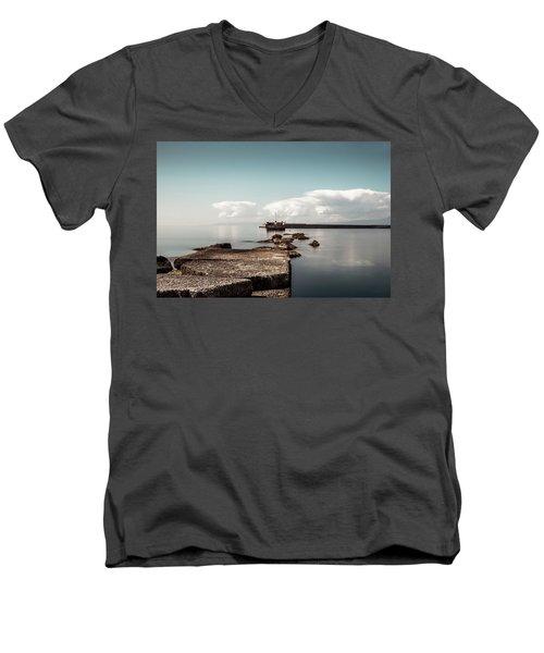 Kalamata Port / Greece Men's V-Neck T-Shirt by Stavros Argyropoulos
