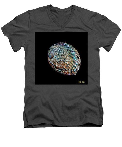 Men's V-Neck T-Shirt featuring the photograph Kaleidoscope Abalone by Rikk Flohr