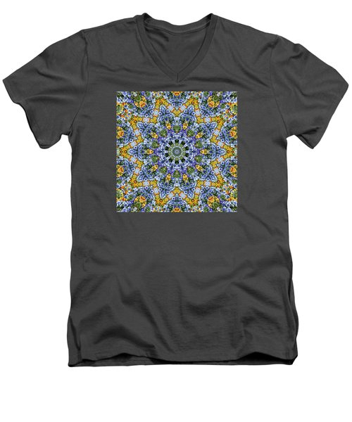 Men's V-Neck T-Shirt featuring the photograph Kaleidoscope - Blue And Yellow by Nikolyn McDonald