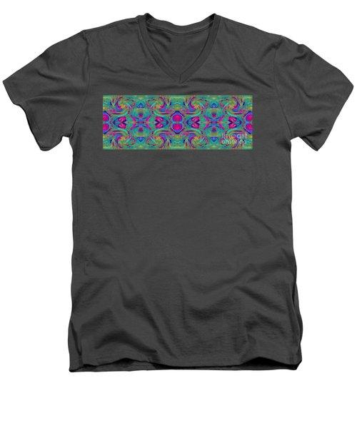 Kaleidoscope Heart Men's V-Neck T-Shirt by Expressionistart studio Priscilla Batzell