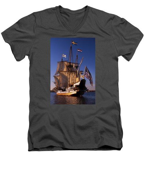 Kalmar Nyckel Men's V-Neck T-Shirt by Skip Willits