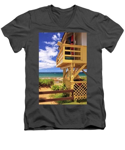 Men's V-Neck T-Shirt featuring the photograph Kamaole Beach Lifeguard Tower by James Eddy