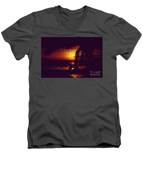 Men's V-Neck T-Shirt featuring the photograph Kamaole Tropical Nights Sunset Gold Purple Palm by Sharon Mau