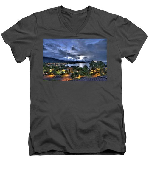 Kaneohe Bay Night Hdr Men's V-Neck T-Shirt