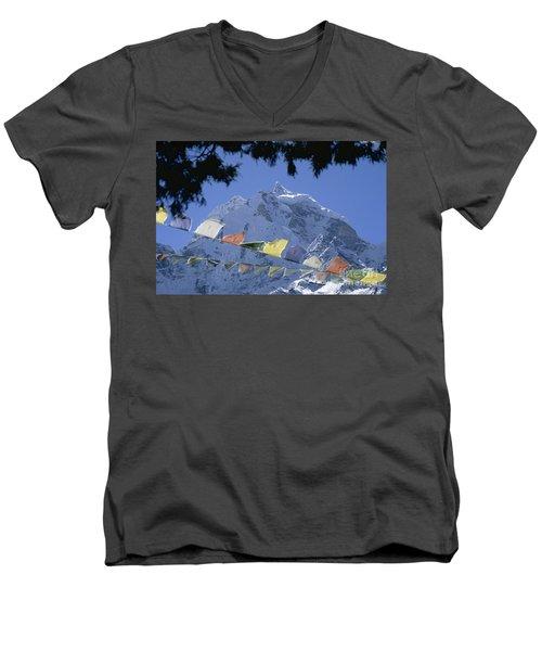 Men's V-Neck T-Shirt featuring the photograph Kang Tega Nepal by Rudi Prott