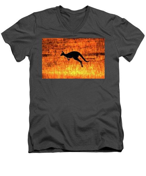 Kangaroo Sunset Men's V-Neck T-Shirt
