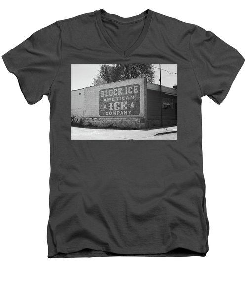 Men's V-Neck T-Shirt featuring the photograph Kansas City Ghost Mural Bw by Frank Romeo