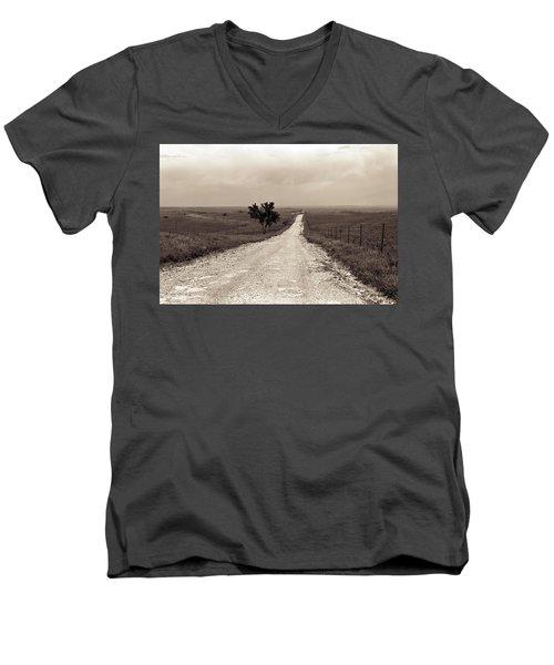 Kansas Country Road Men's V-Neck T-Shirt by Thomas Bomstad