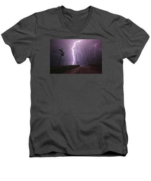 Men's V-Neck T-Shirt featuring the photograph Kansas Lightning by Ryan Crouse