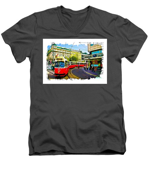 Men's V-Neck T-Shirt featuring the photograph Kartner Strasse - Vienna by Tom Cameron