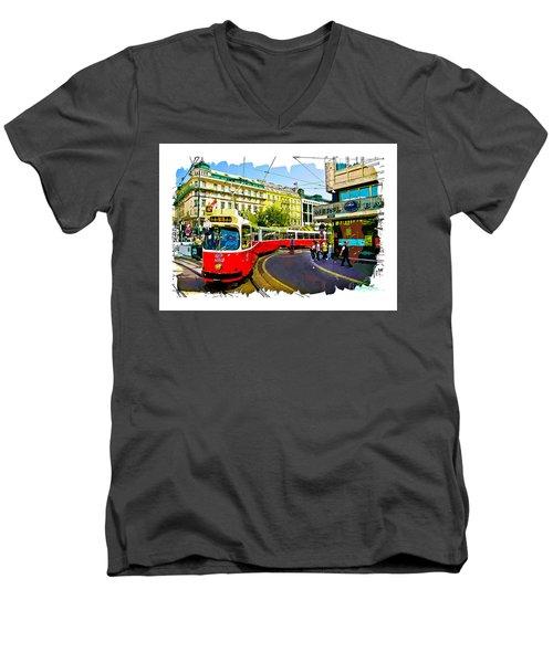 Kartner Strasse - Vienna Men's V-Neck T-Shirt by Tom Cameron