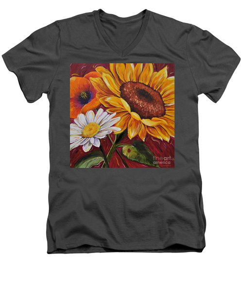 Men's V-Neck T-Shirt featuring the painting Kathrin's Flowers by Lisa Fiedler Jaworski