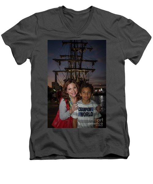 Men's V-Neck T-Shirt featuring the photograph Katy And Baby James Art by Reid Callaway